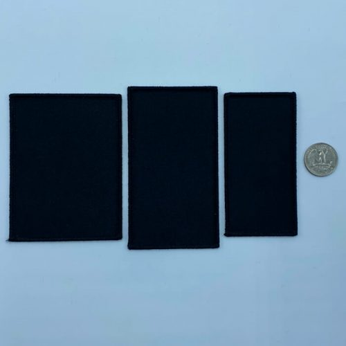 Rectangle black embroidery patches in 3 sizes