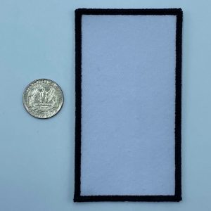 Rectangle black and white 3 inch embroidery patch
