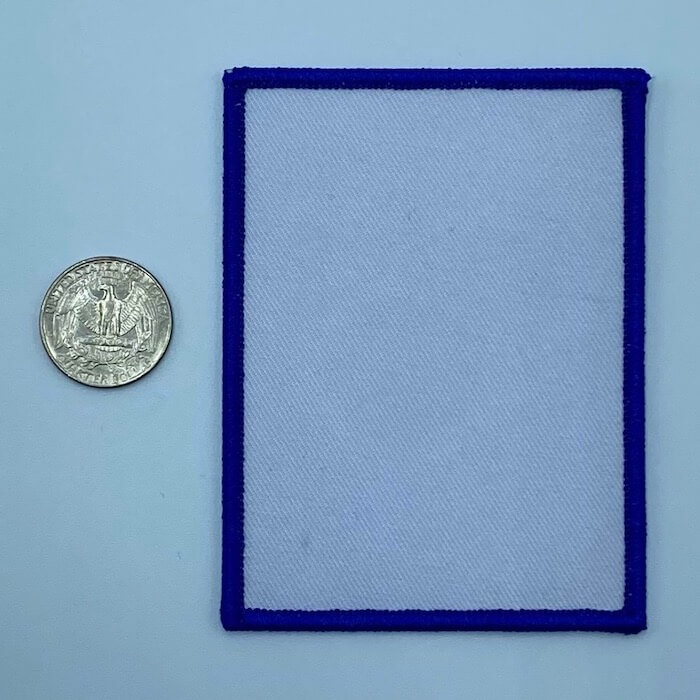 Rectangle blue 2.5 inch embroidery patch