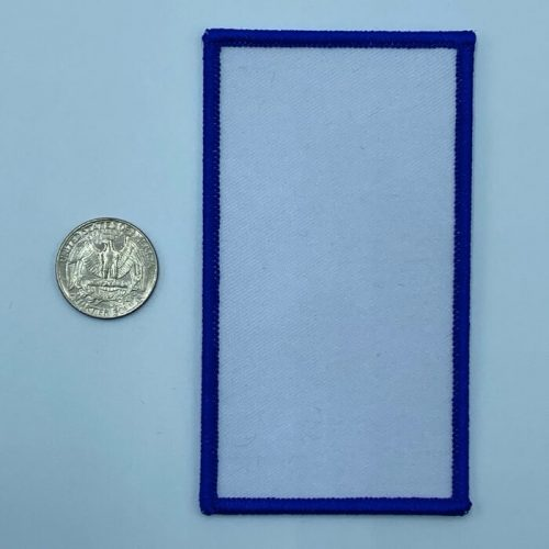 Rectangle blue 3 inch embroidery patch