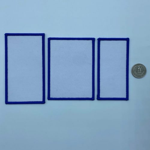 Rectangle blue embroidery patches in 3 sizes