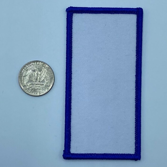 Rectangle blue 3.5 inch embroidery patch