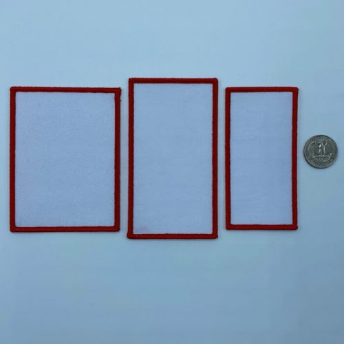 Rectangle red embroidery patches in 3 sizes