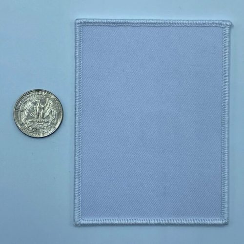 Rectangle white 3 inch embroidery patch