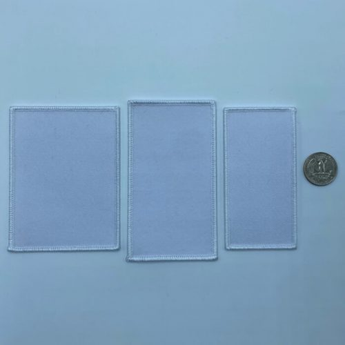 Rectangle white embroidery patches in 3 sizes