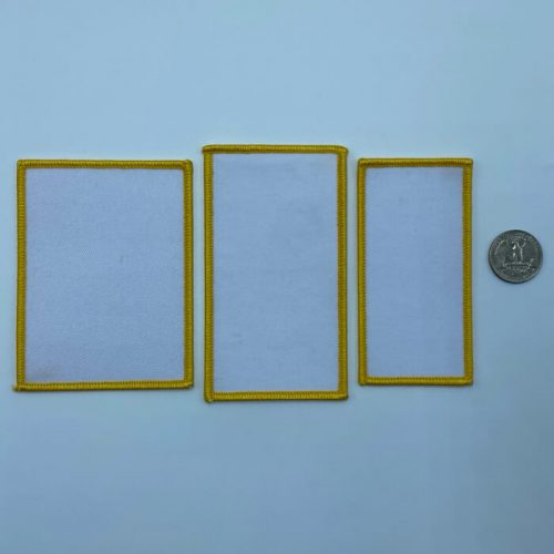 Rectangle yellow embroidery patches in 3 sizes