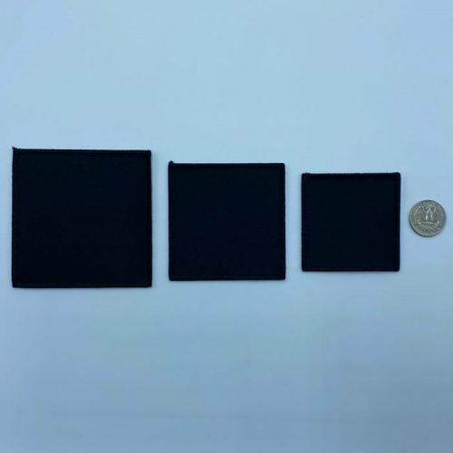 Square black embroidery patches in 3 sizes