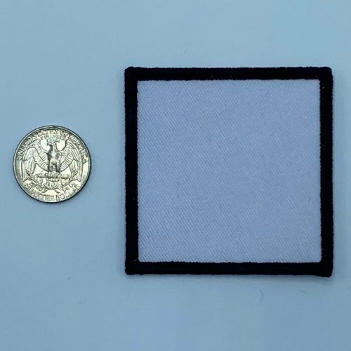 Square black and white 2.5 inch embroidery patch