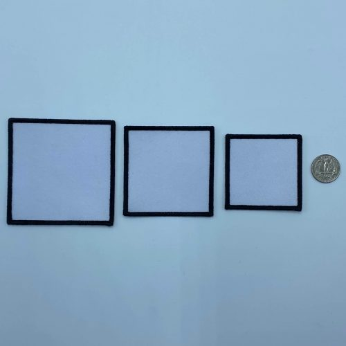 Square black and white embroidery patches in 3 sizes