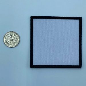 Square black and white 3 inch embroidery patch