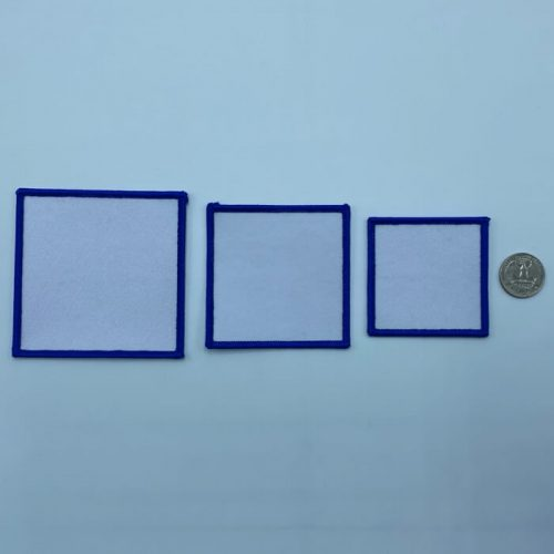 Square blue embroidery patches in 3 sizes