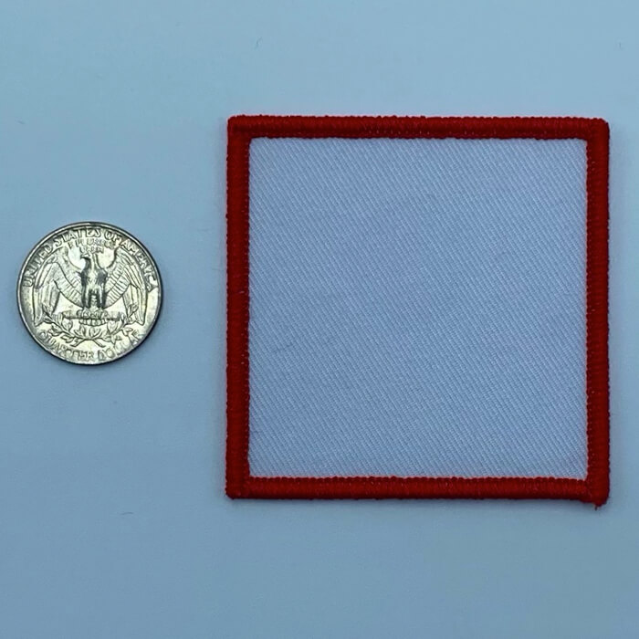 Square red 2.5 inch embroidery patch