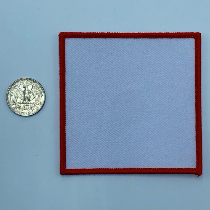 Square red 3.5 inch embroidery patch