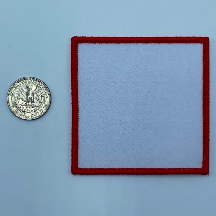 Square red 3 inch embroidery patch