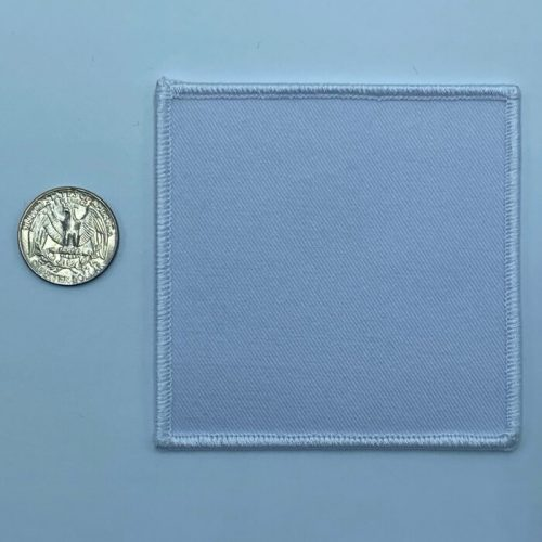 Square white 3.5 inch embroidery patch