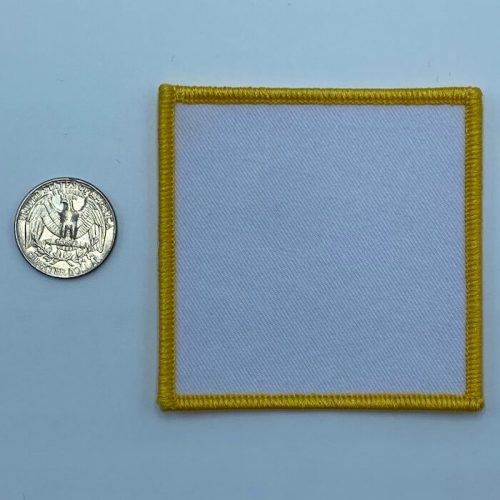Square yellow 3 inch embroidery patch