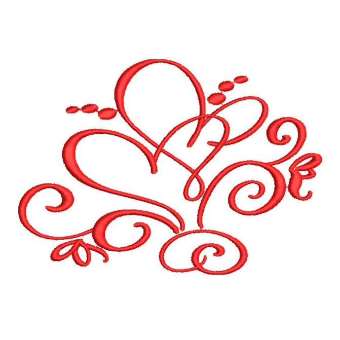Artistic Two Hearts With Swirls