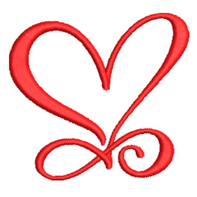 Artistic Heart On Swirls