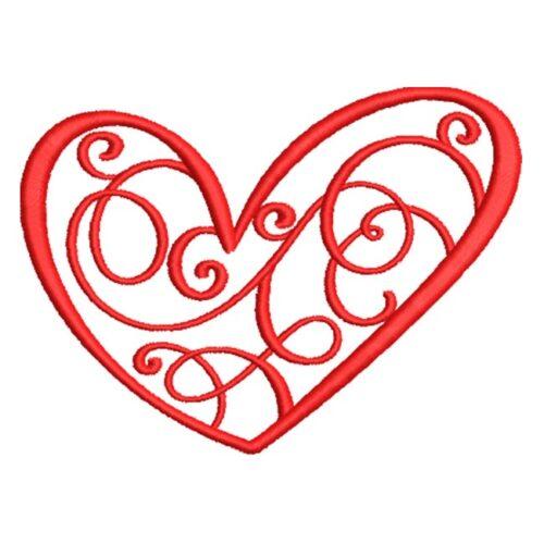 Artistic Swirls In Heart