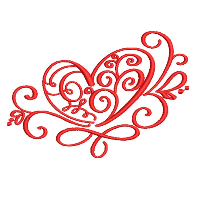 Artistic Heart Design In Swirls