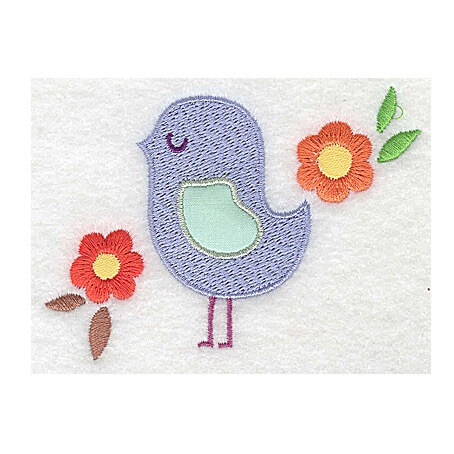 Bird Applique Wing With Flowers Design