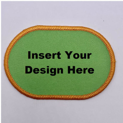 Embroidery Patch Design Flatened Oval with lettering