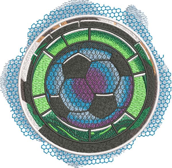 soccer medallion embroidery design