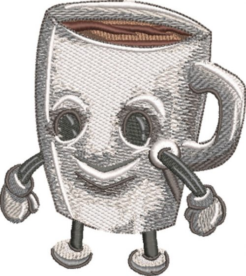 coffee cup cartoon embroidery design
