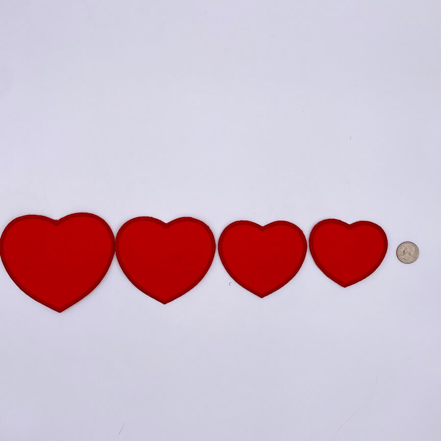 4 sizes of heart shaped embroidery patch designs