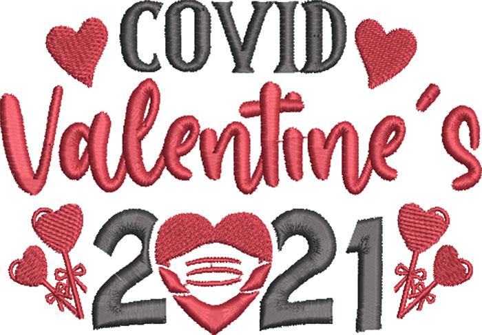 covid valentine's 2021 embroidery design