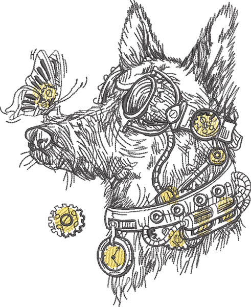 steampunk dog embroidery design