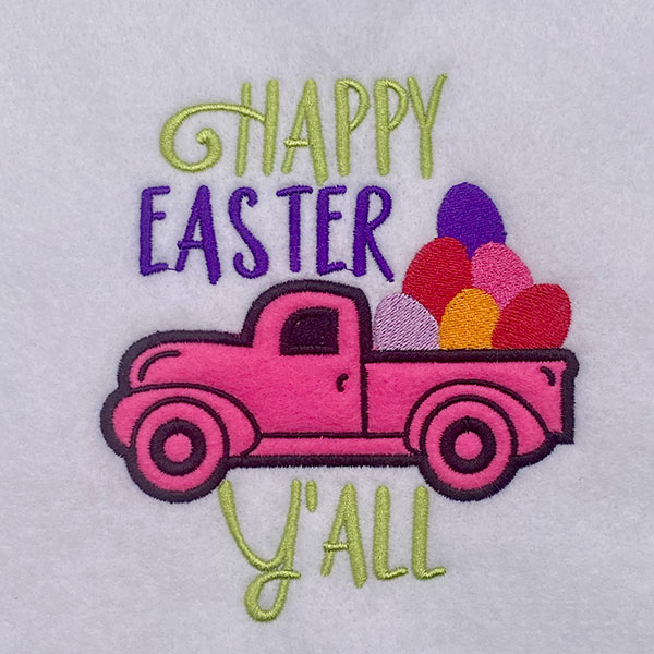 happy easter yall embroidery design
