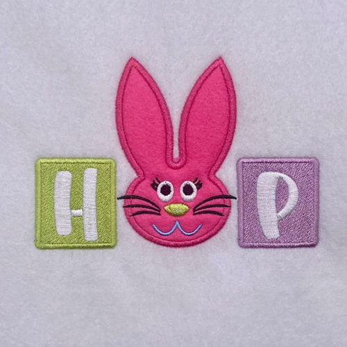 Applique hop embroidery design