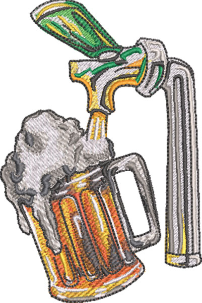 beer tap embroidery design