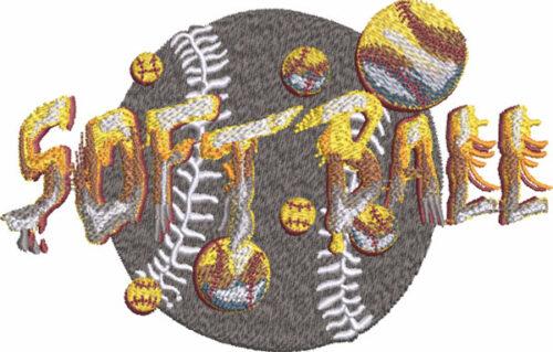 stone type softball embroidery design