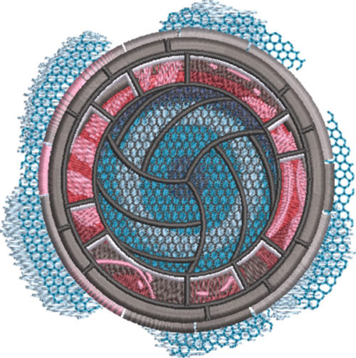 volleyball sport medallion embroidery design