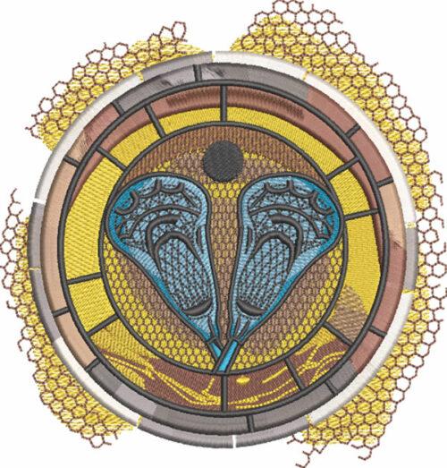 lacrosse sport medallion embroidery design