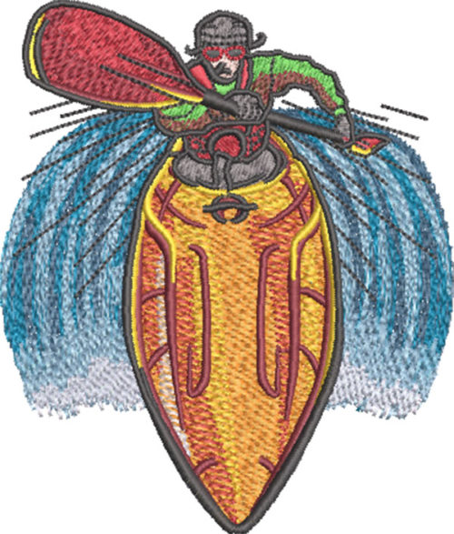 kayaking rapids embroidery design
