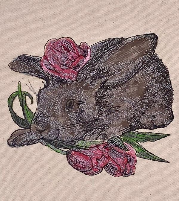 spring rabbit embroidery design