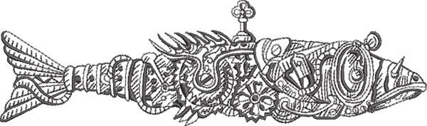 steampunk fish embroidery design