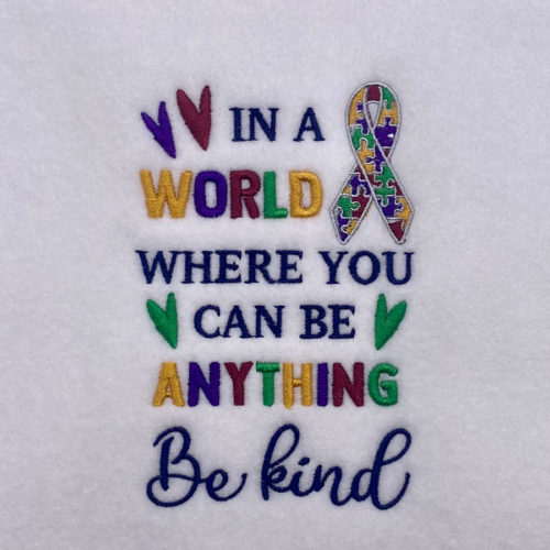 autism be kind embroidery design
