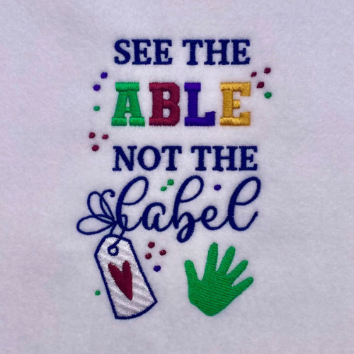 see the able not the label embroidery design