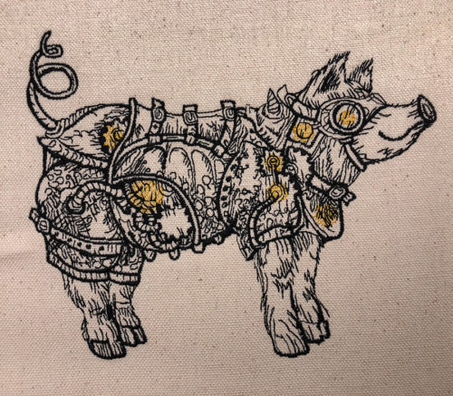 steampunk pig embroidery design