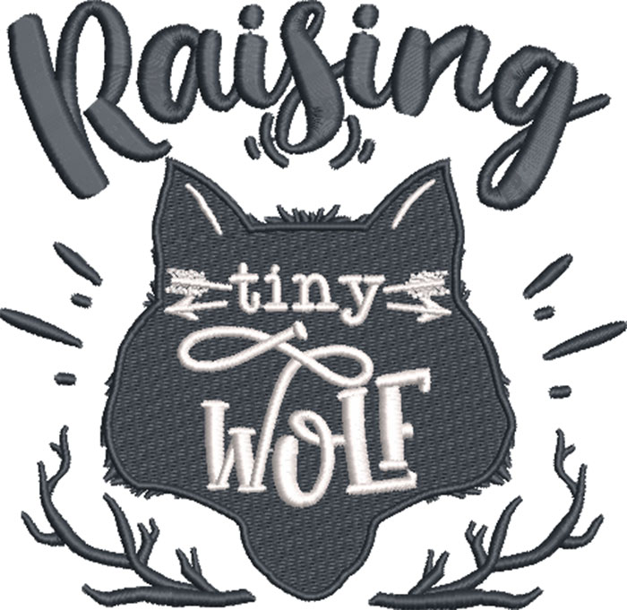 raising tiny wolves embroidery design
