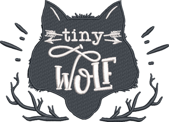 tiny wolf embroidery design