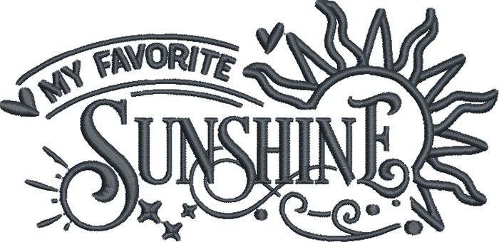 my favorite sunshine embroidery design