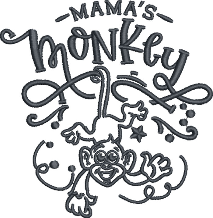 mama's monkey embroidery design