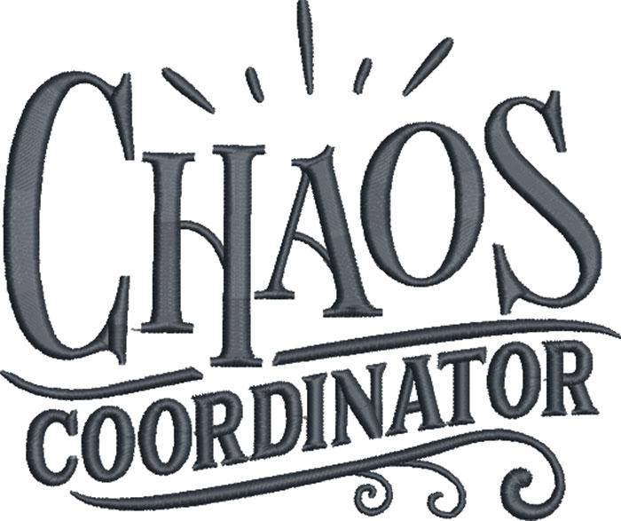 chaos coodinator embroidery design