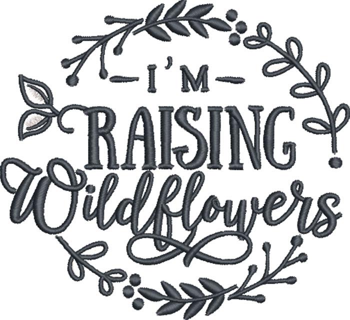 raising wildflowers embroidery design