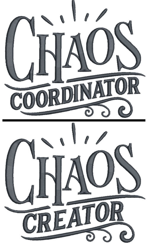 chaos coordinator embroidery design